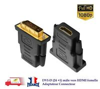 DVI-D (24 +1) mâle vers HDMI femelle Adaptateur Connecteur + 1080p