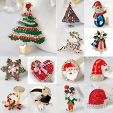 New Holiday Christmas Tree Deer Santa Claus Crystal Brooch Pin Costume Jewellery