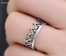 925 Sterling Silver Crown Pattern Filligree Stacking Stack Ring UK L Adjustable