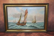 """Peinture / huile sur toile signé Panel """"Le retour de pêche"""""""