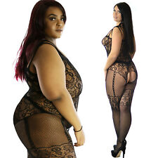 True UK size 12-28 Black Lace Full Body Stocking Lingerie Plus Underwear Fishnet