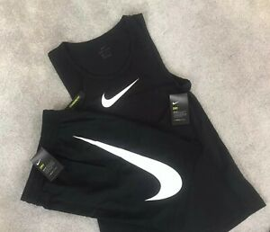 Mens Nike Swoosh Tank Top & HBR Shorts SET Casual Gym 'Train At Home' Sports