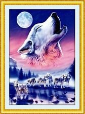 """NEW Cross Stitch Kits"""" Seven wolves Bark at the moon """""""