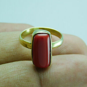 Coral Ethnic Jewelry Brass Handmade Ring US Size 7 R-1438