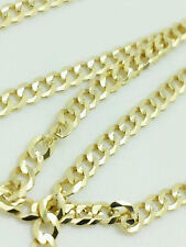 "14K Solid Yellow Gold Cuban Link Chain Necklace 30""  Men's Women"