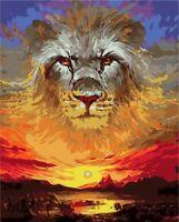Malen nach Zahlen 50x40cm mit Holzrahmen Leinwand Malset Malvorlagen Löwe