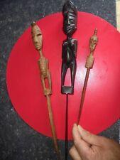 3 Anciens Coupe Papier Bois d'Ebène & Autre Satuette Sculpture Art d'Afrique