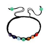 Chakren Armband mit 7 Chakrensteinen je 6 mm größenverstellbar Shamballa 9 Beads