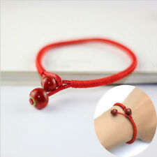 Women Red Lucky Beads String Rope Ceramic Charms Cuff Adjustable Bracelet Chain