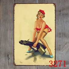 Metal Tin Sign sexy lady with weapon Decor Bar Pub Home Vintage Retro Poster