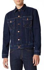 Wrangler Nuovo Uomo Autentico Jeans Camionista Giacca Vintage Blu Scuro Nero