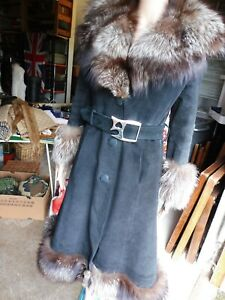 Vintage black suede belted coat with superb silver fox fur collar and trim