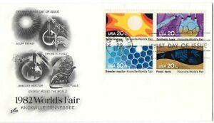 '82 FDCs Worlds Fair set of 4 on Andrews Cachet and B4 on ArtCraft SC#2006-2009