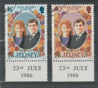 JERSEY 1986 ROYAL WEDDING SET OF BOTH COMMEMORATIVE STAMPS FINE USED