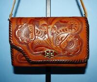 Vtg FLORAL HAND-TOOLED Tan Brown Leather MINI Shoulder Turn-lock Flap Purse Bag