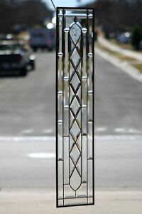 """•Privacy Sidelight,Transom •41 5/8"""" x 9 1/2"""" Modern Beveled Stained Glass"""