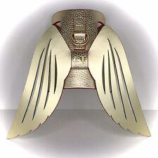 MOSHIQA Gold Leather Dog Harness Size M Wonder Woman WW84 Winged Designer Luxury