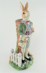 """Fitz and Floyd Classics Old World Rabbits 11"""" Porcelain Gentleman Candle Holder"""