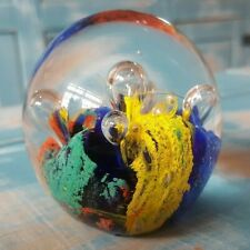 AMAZING MULTICOLOURED ABSTRACT VINTAGE GLASS ART PAPERWEIGHT STUNNING HOME DECOR