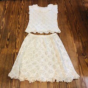 Vintage Hand Crochet 2 Piece Ivory Skirt & Top Set Size 8 Or 10 Boho
