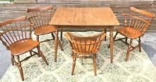 Ethan Allen Heirloom Maple Dining Kitchen Card Table & Comb Back Chairs CLASSIC