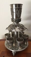 Judaica Shabbat Kiddush  Wine Fountain with 6 Cups Grapes Decoration New