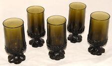 VINTAGE Set of 5 FRANCISCAN CRYSTAL TIFFIN MADEIRA Olive Green Iced Tea Goblets