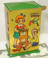 GERMAN  METAL MECHANICAL REGISTERING SAVINGS BANK LITHO TIN  CHILDREN VERSION 2