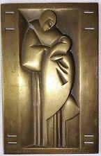 Rare plaque en laiton Art Déco signée J.J. MARTEL édité par la gerbe d'or Paris