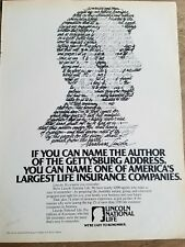 1979 Abraham Lincoln National Life insurance co author Gettysburg Address ad