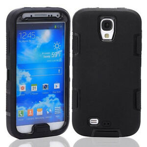 Black Hybrid Impact Hard Case Cover&Stylus Pen for Samsung Galaxy S IV S4 i9500