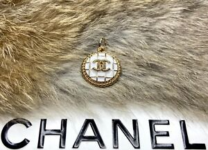 CC Gold / White 20mm round STAMPED for Chanel button metal zipper pull