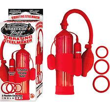 MACK TUFF VIBRATING STEELMAKER PENIS PUMP w/Bullet - 10 Functions Nasstoys RED