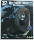 USB Computer Optical Mouse Evo Labs E14 Black Full Size Ergonomic Design