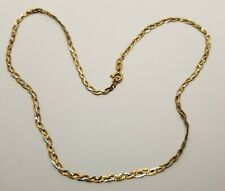 14K Braided Herringbone Necklace Tri Color Gold Woven Link Chain Collar 16.5""