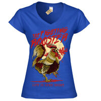 Funny Fighting Rooster T-Shirt Womens Ladies V-Neck