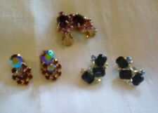 3 Pair Vintage Clip-on Earrings in Beautiful Colors!