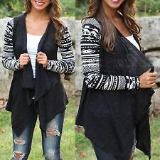 Womens Ladies Boho Cardigan Asymmetric Hem Waterfall Long Sleeve Wrap Coat Top