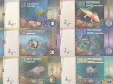 Avokare Island Set 6 banknotes in 2016 UNC (private issue)