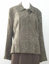 WALLIS Size 16 Dark Green Floral Blazer (Made in United Kingdom)