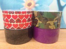 Lote de trabajo de múltiples cintas Pop Pack 4 X 10 m Rollos Craft Washi Camo Corazones Negro Púrpura