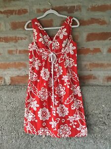 Vintage Lauhala Hawaiian Sundress, Red/White Print, Size M, Great For Christmas!
