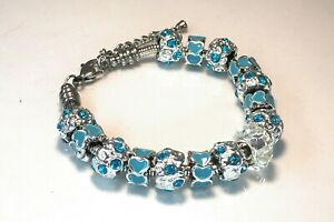 Blue Diamanté and Heart Bead Charm Bracelet
