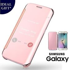 Rose Gold Mirror Flip Leather Protect Case Cover For Samsung Galaxy S6 Edge