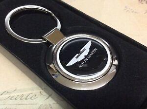 CAST CHROME KEY RING FOB ASTON MARTIN BLACK COMPLETE IN BOX
