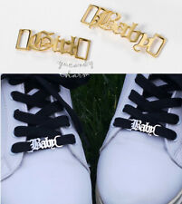 Set of 2 USA Personalized Gold Custom Name Shoelaces buckle BFF Shoes Sneakers