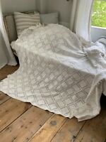 Crochet Lace Coverlet Vintage French hand-made or tablecloth  84 X 84 inches