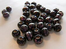 72 pieces Vintage Czech 6mm Pink/Black Dichroic Glass Beads-WOW!
