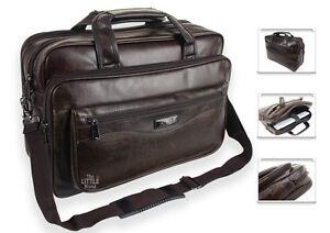Mens Brown Laptop Bag Briefcase Messenger Work Office Shoulder Bag Faux Leather
