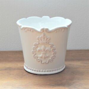 14cm Vintage White Ceramic Plant Pot Fleur De Lis Decorative Indoor Planter Jar